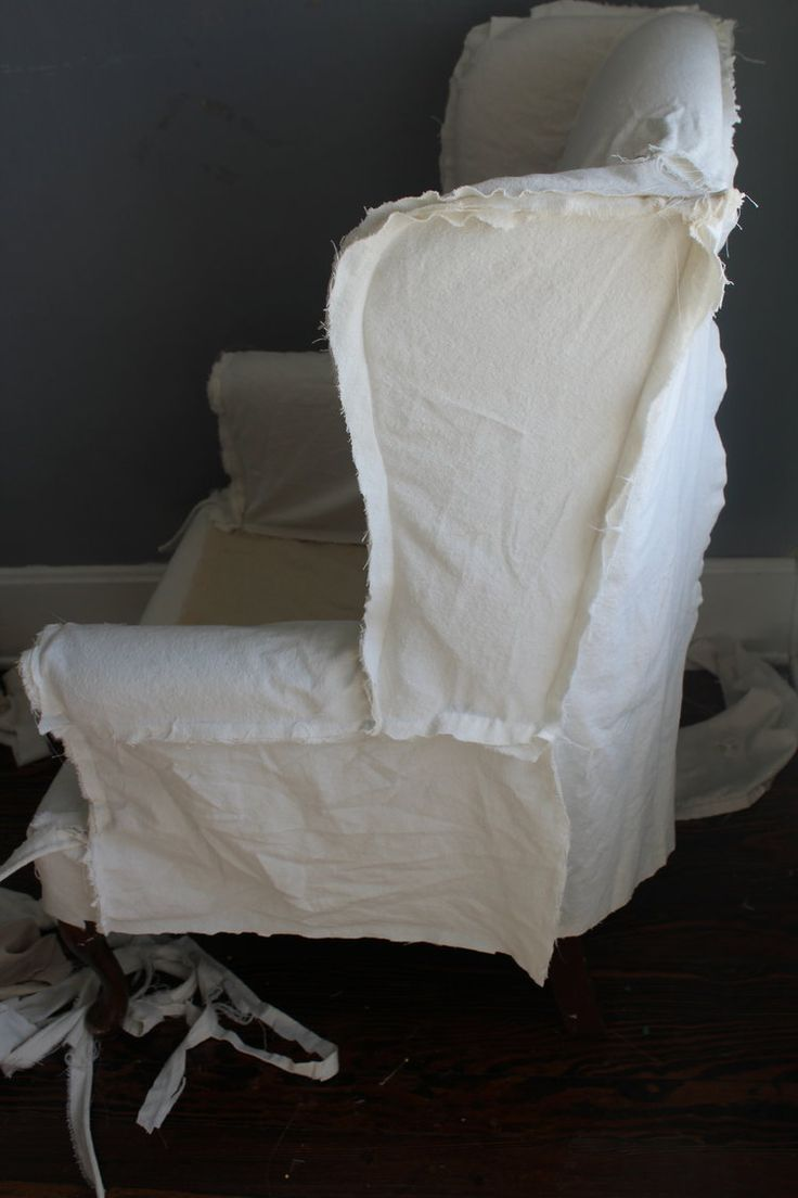 How to slipcover a wingback chair with video instructions.