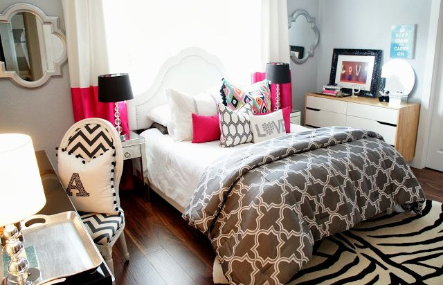 The Cuban In My Coffee, teen girls bedroom, grey and white girls bedroom. Zebra rug, chevron chair, fuschia color blocked drapes.