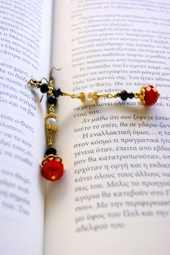 Romantic red  earrings by RenatasArt on Etsy, €12.00