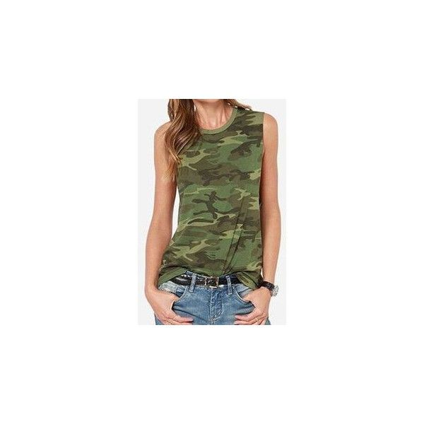 Camouflage Tank Top ($13) ❤ liked on Polyvore featuring tops, women, green tank top, camouflage top, camo tank, camo tank tops and camouflage tank