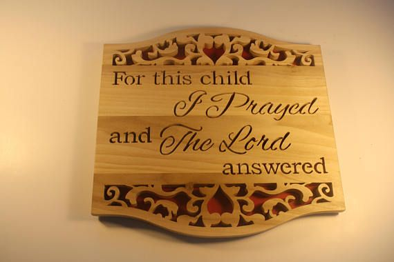 Christian Wall Scroll Saw Art - Bible Verse Sign - New Mom Gift - Nursery Decor - 1 Samuel 1:27 - Baby Shower Gift- New Parent Gift #BibleVerseSign #BabyGift #ChristianWallArt #BabyShowerGift #ChristianPlaque #BibleVerse #NurseryDecor #NewParentGift #1Samuel127 #NewMomGift