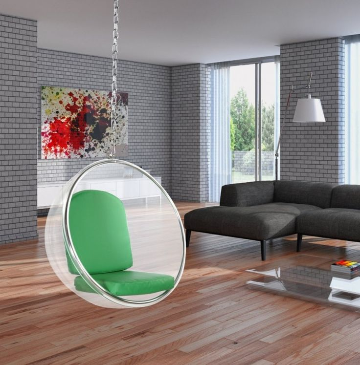 Furniture Fancy Home Furniture Designs Rounded White Glass Transparent Clear Hanging Egg Chair Includes Green Leather Cushion Seat Covers White Standing Lamps L Shaped Grau Sofa Bubble Hanging Chair White Acrylic Green Cushion Unique Metal Hanging Chair