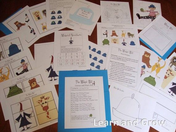 The Magic Hat by Mem Fox Literacy and Math Unit. Kids LOVE this book, and the activities to go along with it are so much fun. Original illustrations were used to make this fun educational unit.