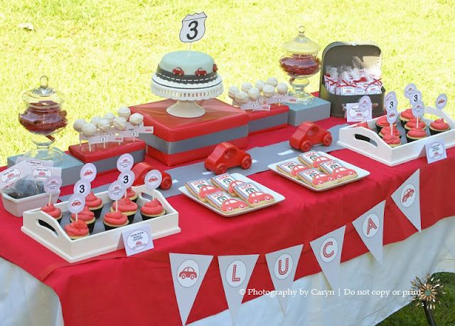 'Route 3' Red Car 3rd Birthday Party - Kara's Party Ideas - The Place for All Things Party