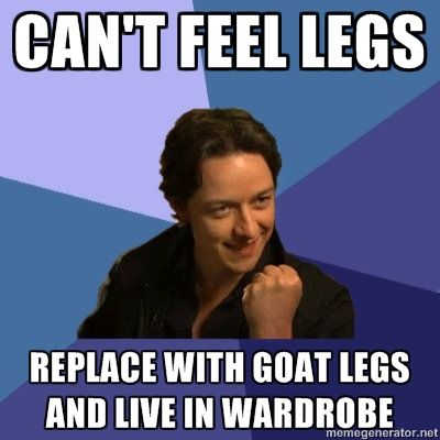 The moment whe you realize that James McAvoy played both Charles Xavier AND Mr. Tumnus- this is to darn funny! :D