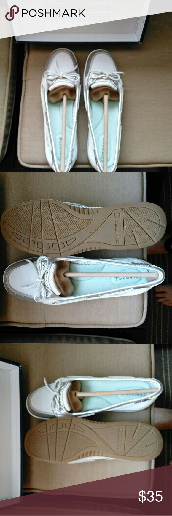 Sperry angelfish shoes Brand new, never worn and still in the box. Medium width. I would keep them but I need them in a wide width. Very cute for spring and summer! Their is a very light pink streak along the side of the shoe. This must have happened at the factory because they came like that. I didn't notice it at first and would have kept them except for the width issue. Sperry Top-Sider Shoes Flats & Loafers