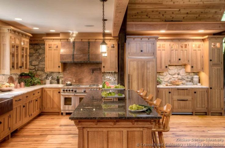 Mission Style Kitchen Cabinets (Crown-Point.com, Kitchen-Design-Ideas.org)  This would look awesome in my Dream Timber Frame home out west! Love it!