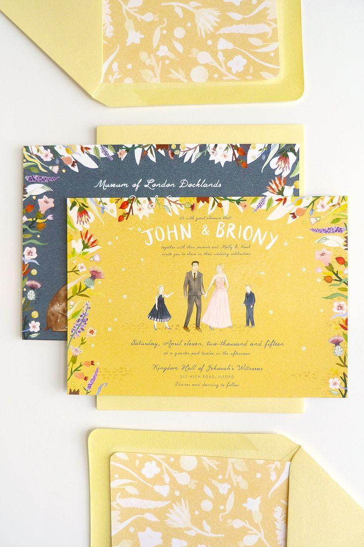 livi gosling illustrated briony jon custom wedding invitations by @jollyedition