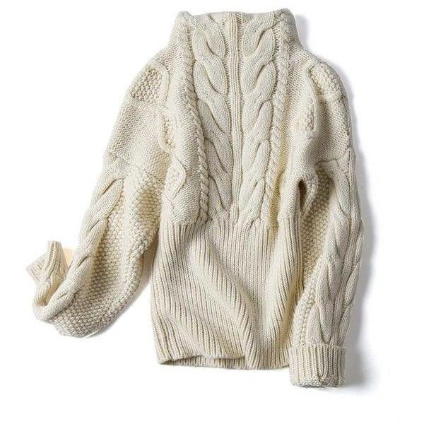 Zuri Cable Knit Turtleneck Sweater Beige or Black (¥8,730) ❤ liked on Polyvore featuring tops, sweaters, beige sweater, turtle neck top, cable-knit sweater, wool sweater and chunky cable knit sweater