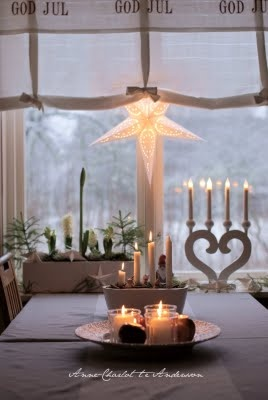 Christmas in Sweden - beautiful pics and many ideas (most are nice and simple), also St. Lucia pics