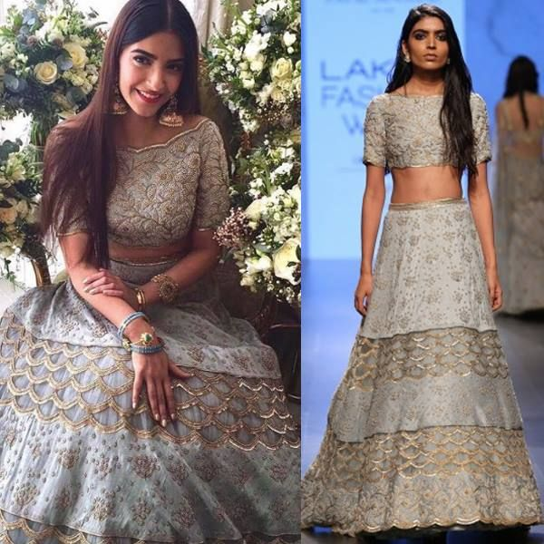 Sonam Kapoor looks mesmerising in this Powder Blue Pearl Off Shoulder Choli with Embroidered Lehenga Skirt by Payal Singhal Inc.. #celebstyle #celebcloset #getthislook #sonamkapoor #payalsinghal #contemporarywear #indianfashion #indiandesigners #shopnow #perniasopupshop #happyshopping