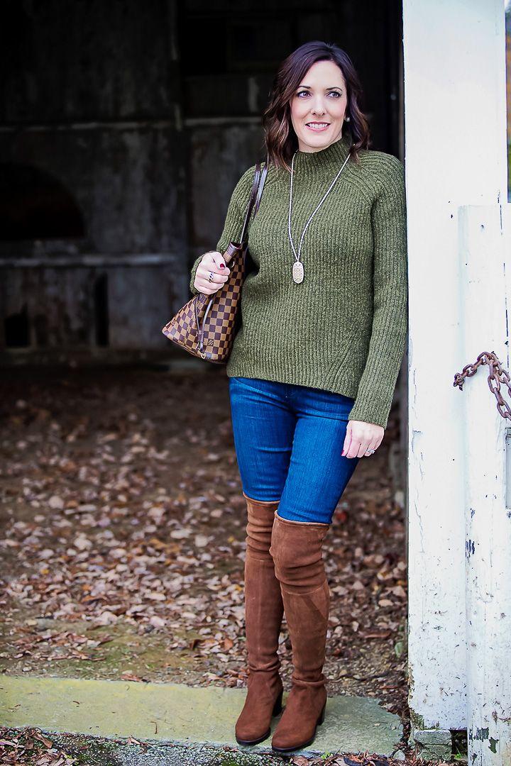 Pine Green Turtleneck + OTK Boots