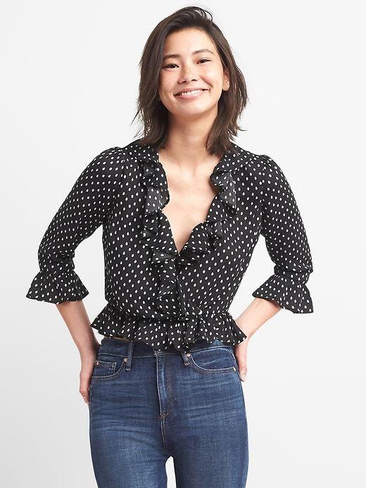 3a5005c5 Gap Womens Wrap-Front Print Ruffle Blouse Black | Products | Fashion ...