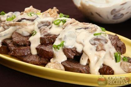 Receita de Carne com molho de três cogumelos em receitas de carnes, veja essa e outras receitas aqui!