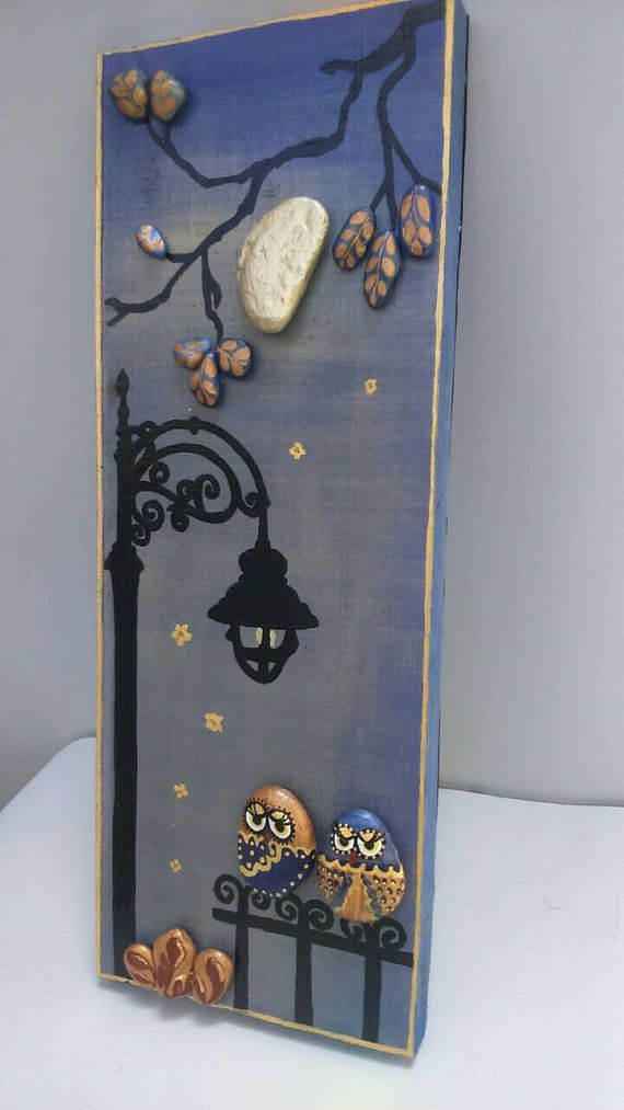 Unique pebble art gift for couple owl pebble by StefArtStone