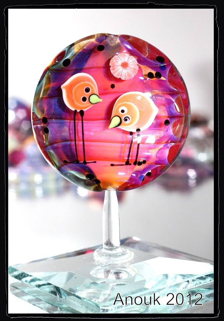 chicklets sra handmade lampwork focal lentil bead by anouk jasperse