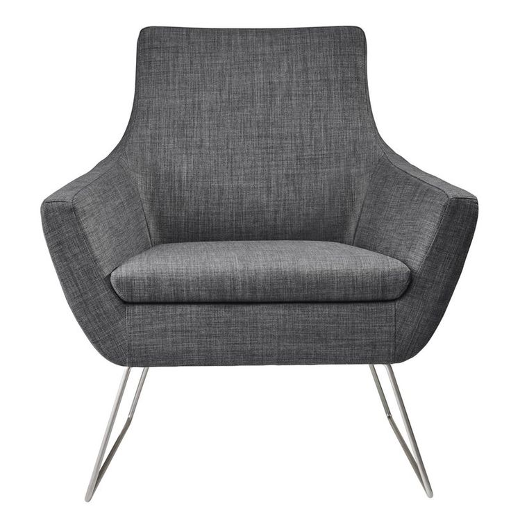 An open, reclined shape with thin, brushed steel legs, the Kendrick chair lightens up contemporary style with airy ambiance. Smooth gentle curves are both modern and industrial. The beauty of this collection lies in its simplicity. Rich texture in a woven fabric provides an interesting variation to the sleek, smooth steel base.