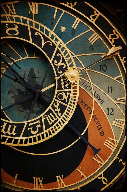 Beautiful color close-up of the Astronomical clock in Prague