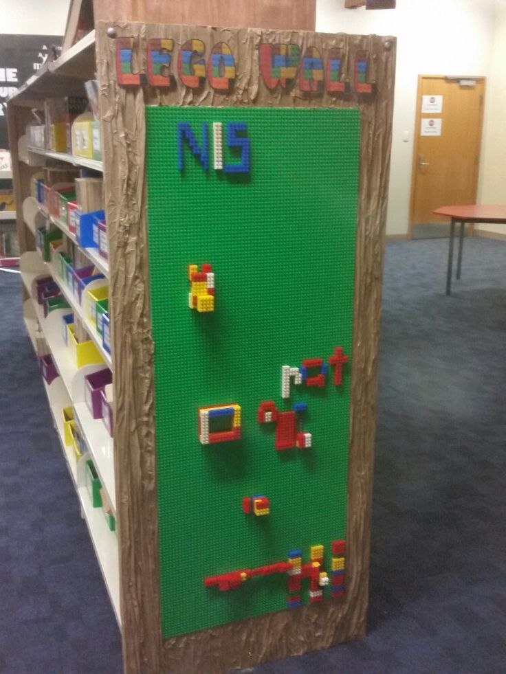 Lego Wall Bayend for interactive cognitive creativity in the library.