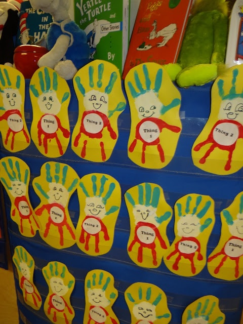 Cute #Thing1 and Thing2 for #Dr. Seuss Day made from #Handprints! We read books, Danced, Sang and did some Dr. Seuss Trivia games too!