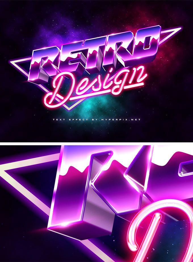 3d 80s Retro Text Effect Psd Retro Text Text Effects Photoshop Text