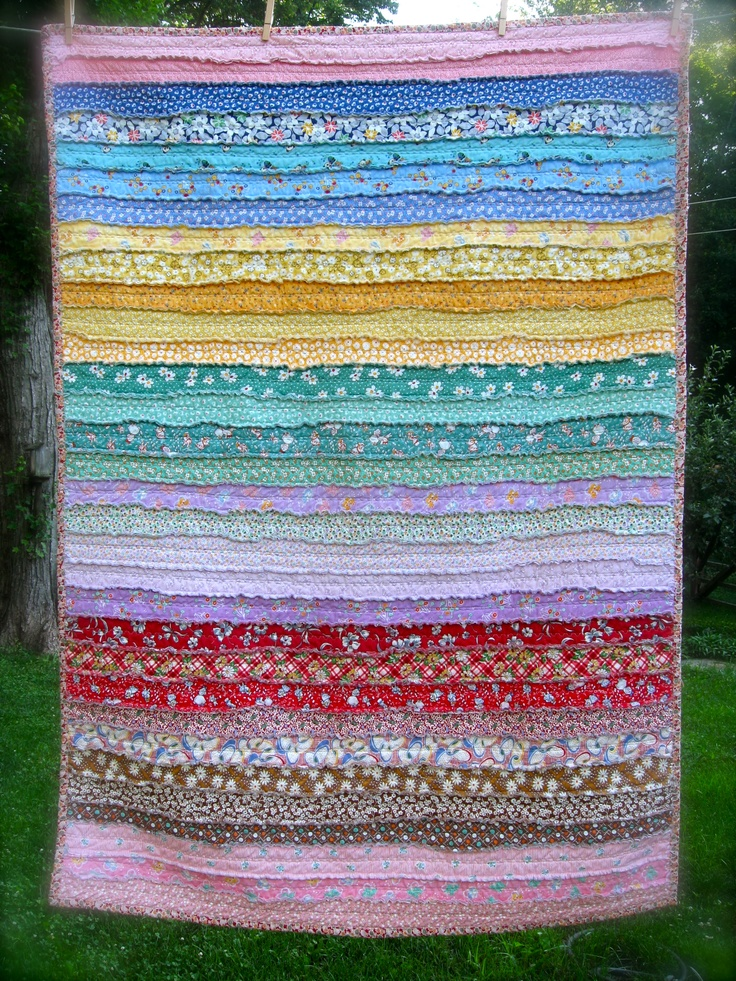 Rag Quilt  30s prints #jellyroll #quilt -  Pattern:  http://sweetwater.typepad.com/makelifesweet/2009/08/the-easiest-thing-to-do-with-a-jelly-roll-plus-our-winners.html
