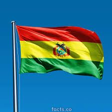 Red stipes represents bravery, the yellow stripe represents the countries natural resources, the green stipe represents the fertility of the land and the center contains the Coat of Arms of the country which honors the country's struggle for independence.  Flag of BOLIVIA