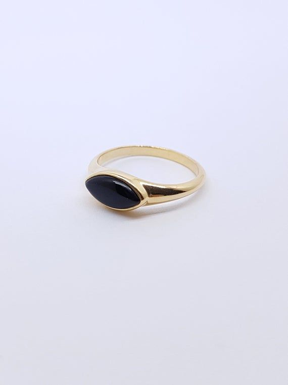 silver free shipping ready to ship black stone gemstone stacking ring size 5 ONYX gift for her