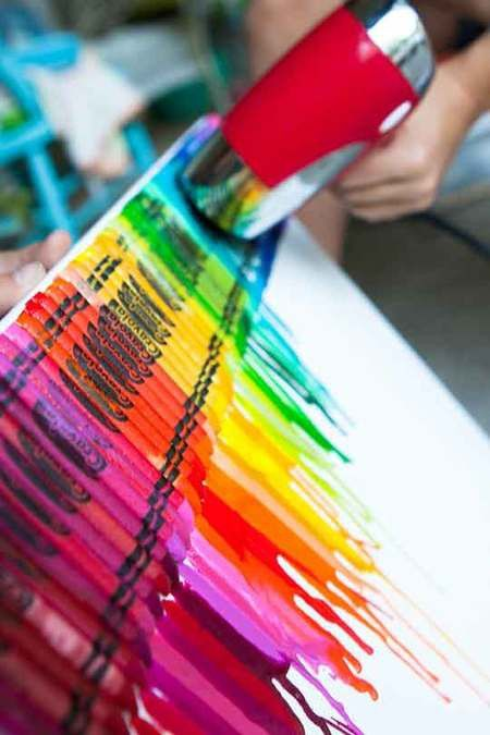 Rainbow house ideas: inspirations for adding color like WHOA | Offbeat Home: Idea, Melted Crayons Art, Hairdryer, Hair Dryer, Crayons Canvas, Art Projects, Tried This, Crafts, Kids Rooms