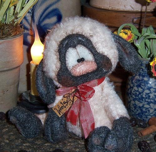 "Primitive Fuzzy Easter Lamb Sheep Bear Spring 5"" Doll Vtg Patti's Ratties Ornie"