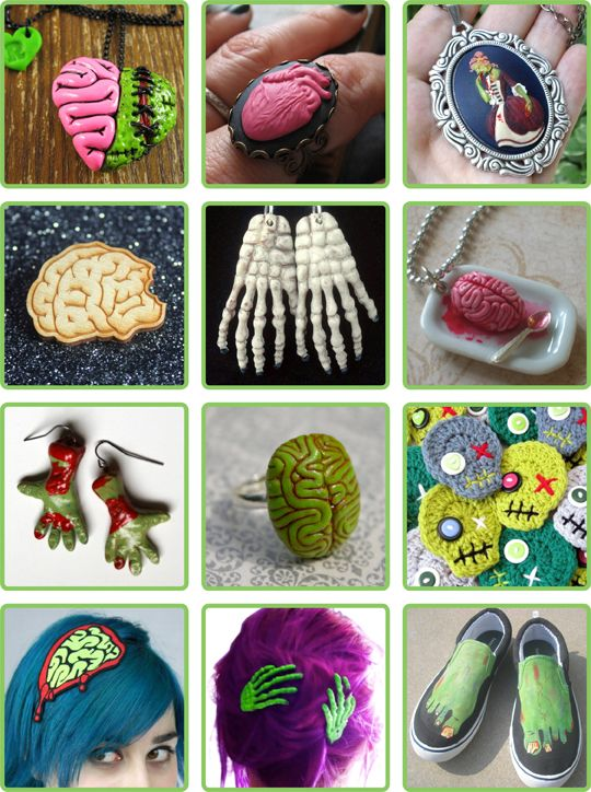 zombie craft ideas brain necklace skeleton hair shoes 3283