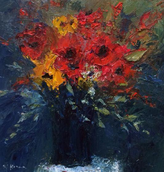 Nael Hanna Hue Red Oils | Scottish Contemporary Art