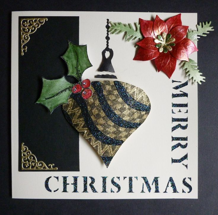 'Merry Christmas Bauble' card. - Imagination Craft's -  Red, Green & White gold Starlight paints.   Black stars & Gold shine Sparkle Mediums.  Large bauble Merry Christmas' stencil.  Black fine liner pen.  Tattered Lace corner die.  Pine branch & Poinsettia dies - Marianne Design.  Silicone glue.  June 2017.  Designed by Jennifer Johnston.