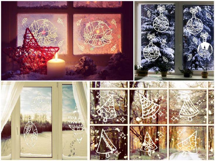 новогодние трафареты на окна для вырезания