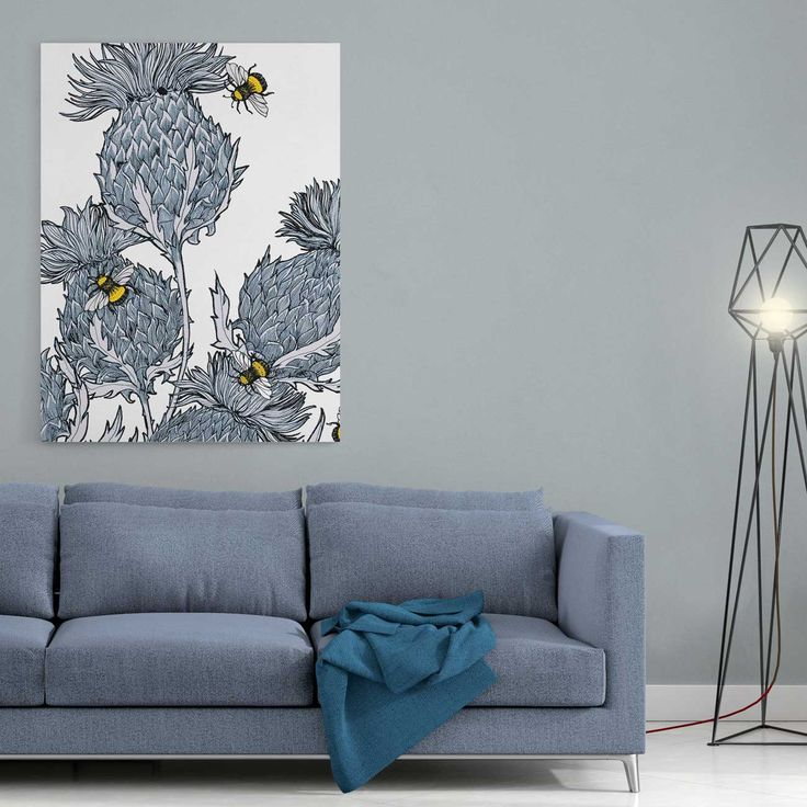 A gorgeous, ready to hang stretched canvas print of Scottish thistles by Gillian Kyle. A gorgeous, ready to hang stretched canvas print of Gillian's beautifully bold thistles in soft tones of blue and grey. Makes a sophisticated Scottish statement in any room!