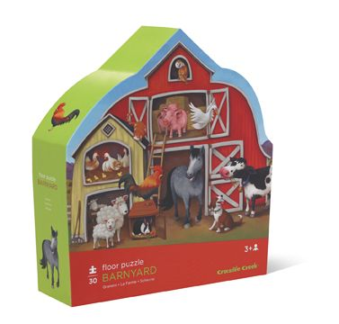 """30-piece puzzle. A wonderful farm animal floor puzzle in a barn shaped box. Big pieces for little fingers. Great for learning and fun. Large 27"""" X 20"""" shaped puzzle. Boxes are approximately 10.5 """"L x 11"""" H x 3""""W. Age 3+. #CrocodileCreek #CamelotKids #FarmPuzzle #Puzzles"""