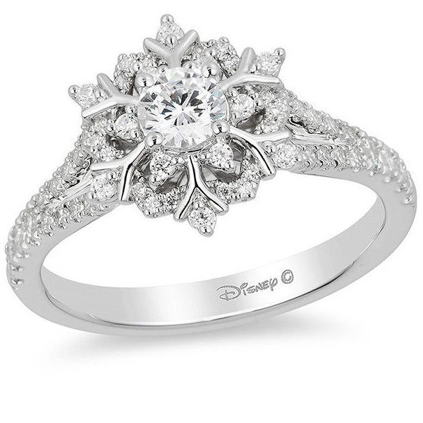 Enchanted Disney Elsa 5/8 CT. T.W. Snowflake Engagement Ring in 14K... ($2,000) ❤ liked on Polyvore featuring jewelry, rings, wrap rings, 14k white gold ring, white gold jewellery, white gold rings and disney jewellery