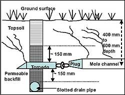Mole Drain Over Collector Pipe System Gravity Drains