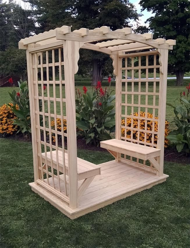 Pine Wood Cambridge Outdoor Arbor with Deck and Benches