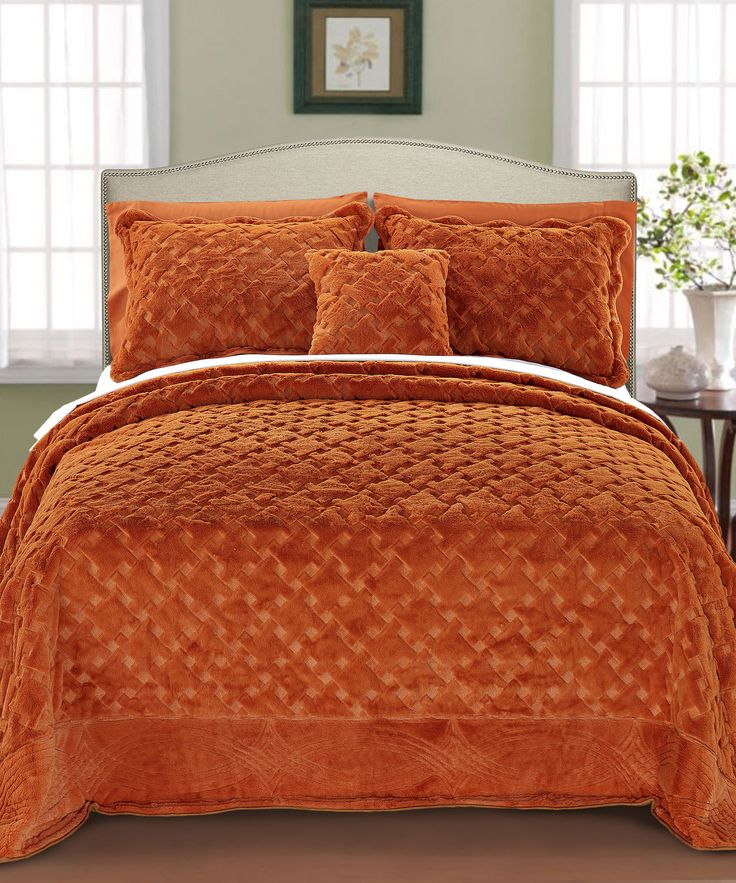 17 best images about fall color beds bedrooms on pinterest place mats blankets and http orange - Spots of color in the bedroom linens and throws ...