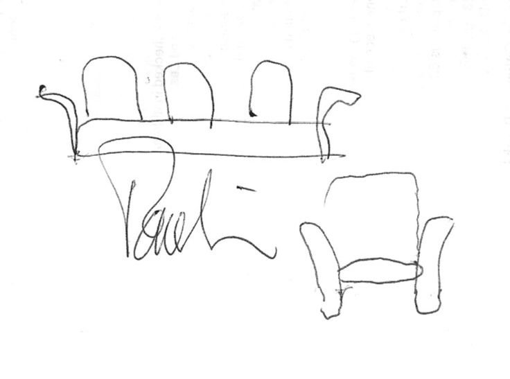 This is a Paulin sketch of one of his chair designs, long out of production. Paulin drew this at a business dinner during the 2004 International Contemporary Furniture Fair. Please read the full story on the blog post about Paulin's passing (June 2009) at https://semimodern.wordpress.com/tag/pierre-paulin/ .
