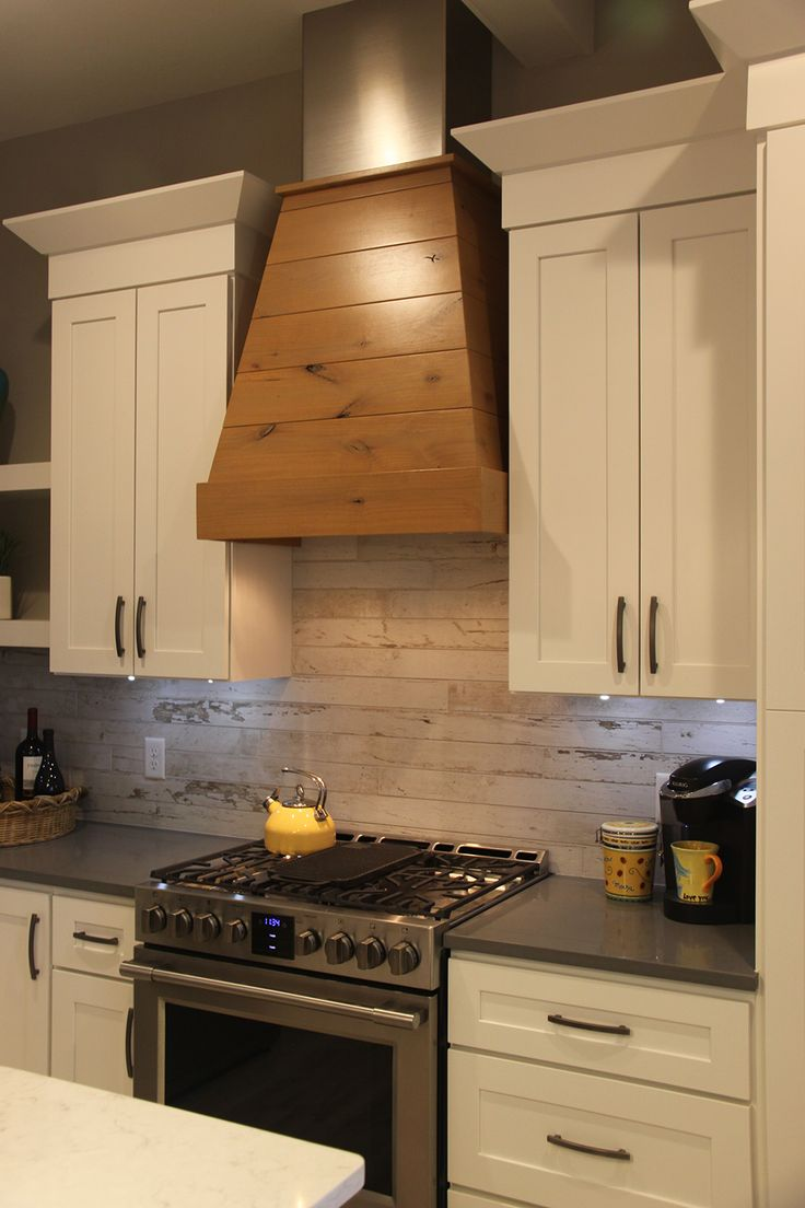 Wood Covered Vent Hood Wood Look Ceramic Tile Backsplash