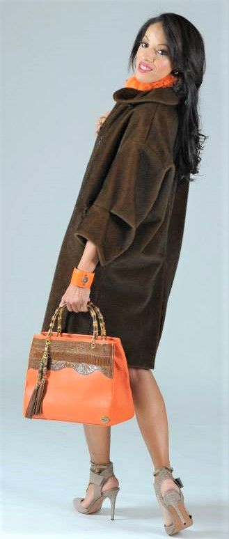 ORANGE TOPGRAIN LEATHER/OSTRICH/BAMBOO TOTE FASHION SHOOT MARYDOS COLLABORATION WITH UG-LEE