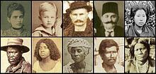 The Brazilian people have several ethnic groups. First row: White (Portuguese, German, Italian and Arab, respectively), Ukrainian-Brazilian, Polish Brazilian and Asian Brazilians. Second row: African, Pardo (Cafuzo, Mulatto and Caboclo, respectively) and Native (Indian) Brazilians.