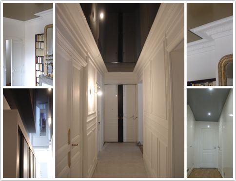 le couloir a t travaill en noir laqu pour donner perspective et profondeur la luminosit. Black Bedroom Furniture Sets. Home Design Ideas