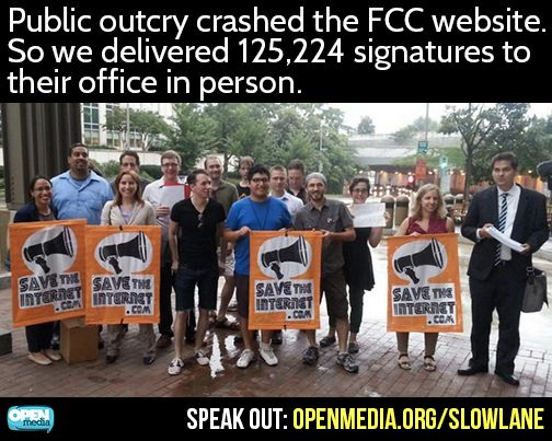 We're running out of time to prevent Internet slow lanes and save net neutrality. We're so serious, we closed our laptops and helped hand-deliver your comments to the FCC. Now it's your turn, go to https://OpenMedia.org/SlowLane to stand up for the open Internet now!