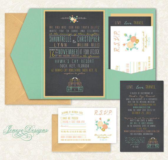 Invitation de mariage de poche sur Etsy, 25,88 €