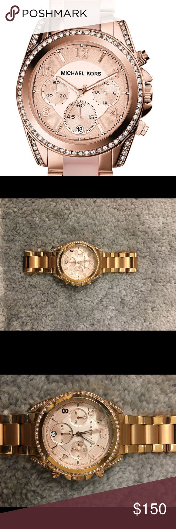 Michael Kors Watch Rose gold stainless steal chronographic Michael Kors watch. Has never been worn but has a chip in the face (see pictures). It should cost roughly $25-30 to fix. Other than that, it is in perfect condition. Michael Kors Accessories Watches