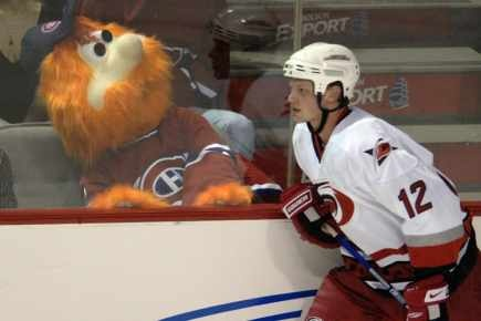 No love lost between Youppi and Eric Staal, I guess.