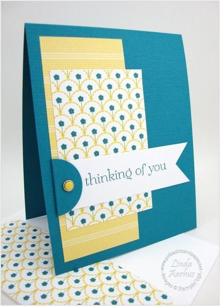 handmade card ... clean and simple design ... blue, yellow, white ... great design for using a couple coording patterned papers ... like the deep blue card base ... Stampin' Up!